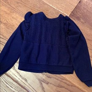 GAP Shirts & Tops - Baby Gap navy blue ruffle cardigan sweater